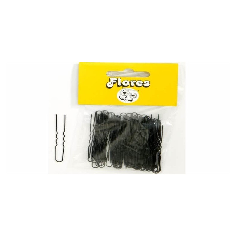 Imagen de Horquillas flores invisible mini negras 25 x 100uds