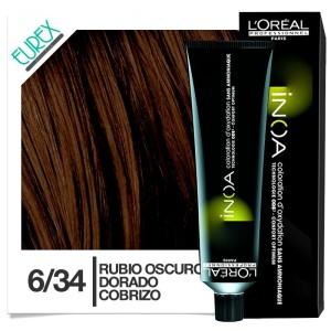 Tinte Loreal Inoa 6/34 Rubio Oscuro Dorado Cobrizo