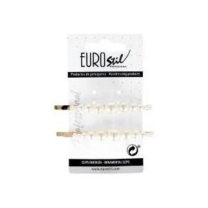 Clip Dorado Largo con Perlas Surtidas Eurostil 2ud